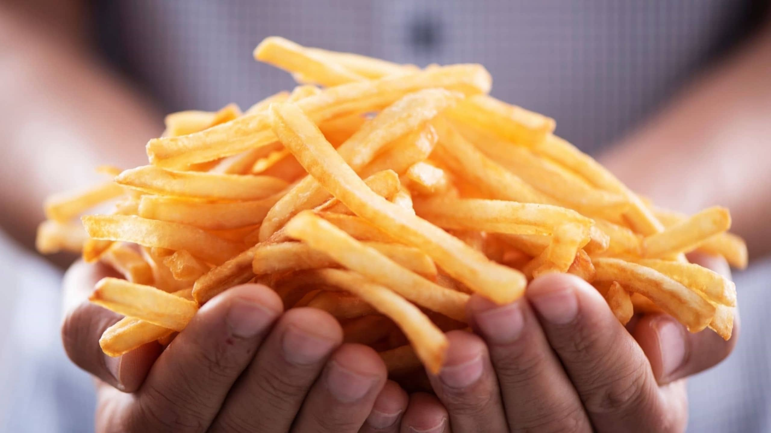 Person Holding Fries Banner